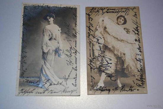 Две дореволюционные открытки с прекрасными дамами_Одна из них очень редкая в старинных пуантах на каблуках_Похоже что на двух одна и та же дама_Датированы 1906г._Подписаны одним человеком_!