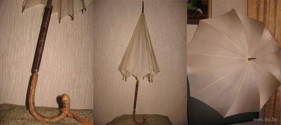 Антикварный зонт, ещё царских времён, рабочий 100, всё родное.