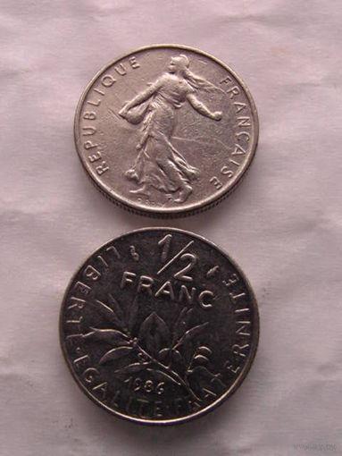 Франция. 1/2 франка 1986г.   распродажа