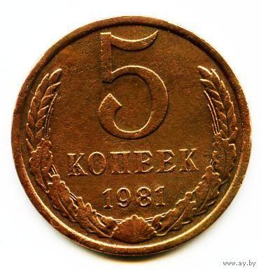 Монета 5 копеек 1981 СССР
