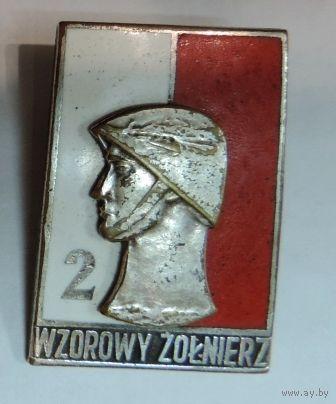 """Знак """"Wzorowy zolnierz"""" 2 степень. Польша. Размер 2.8-4 см."""