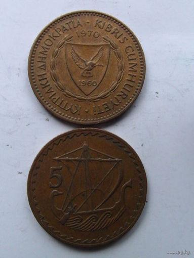 Кипр 5 центов 1970г.  распродажа