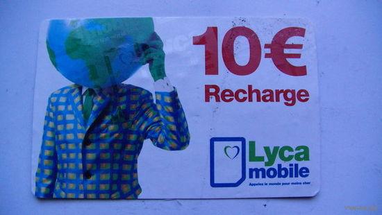 Францыя телефонная карточка 10 евро. Recharge. распродажа