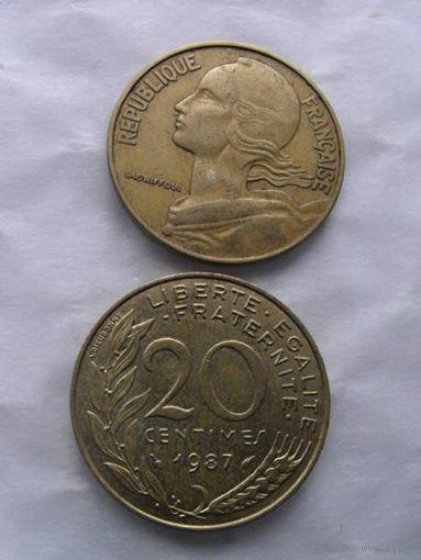 Франция 20 сантим 1987г  распродажа