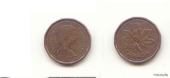 Канада. 1 цент 1989 г. Лист клена.   распродажа