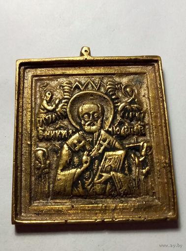 Икона 19 в.Николай Чудотворец.Старт с 2-х рублей без м.ц.Смотрите другие лоты,много интересного.