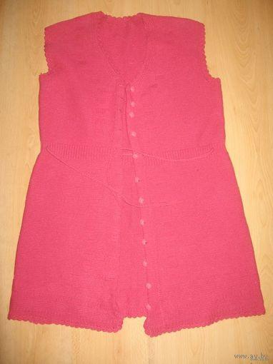 Длинный жилет (розово-малиновый)