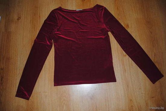 """Блуза женская, фирменная и качественная, бордовая-вырез лодочкой-, летняя,-""""ВИКТОРИЯ""""-Италия-размер-S/M-(40-42/44)!"""