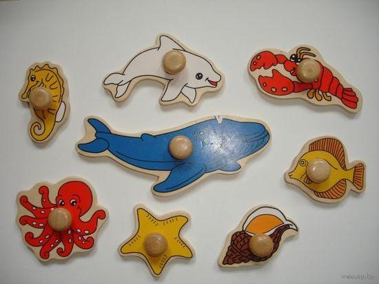 """Набор для игр """"Морские животные"""" деревянный"""