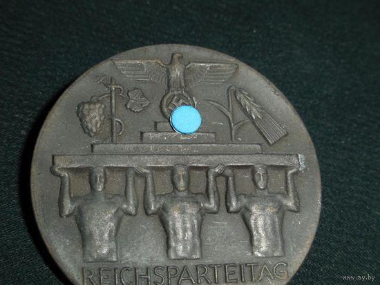 Знак 1937 год, значок съезда партии NSDAP  3 рейх, Германия, клеймо (оригинал)