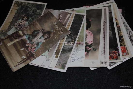 """Сборная серия из 20-ти Французских старинных открыток, по теме: """"Madame la Fleur """" - моя коллекция до 1917 года - антикварная редкость - цена за всё, что на фото, по отдельности пока не продаю-!"""