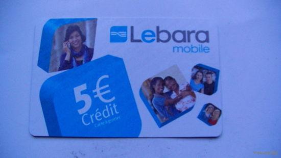 Францыя телефонная карточка 5 евро. Lebara mobile. распродажа
