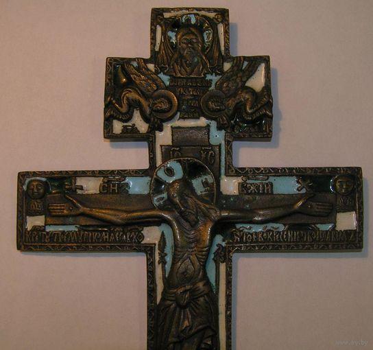 Медно-литой киотный крест Распятие начало XX В38