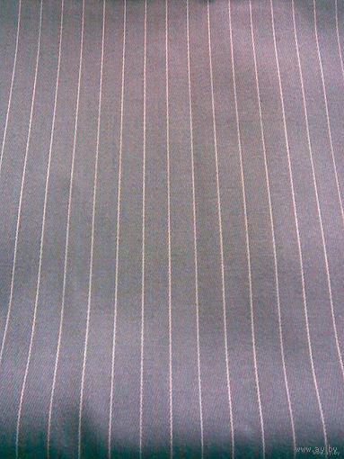 Ткань костюмная, серая в полоску (отрез 2,3 х 1,5 м)