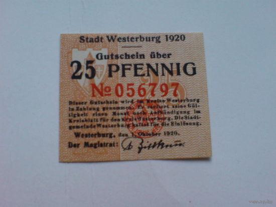 Нотгельд 25 пфенниг 1920г Вестербург пресс   распродажа