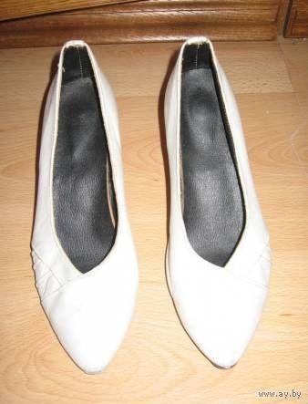 Туфли белые натур.кожа (лодочки) р-р 37,