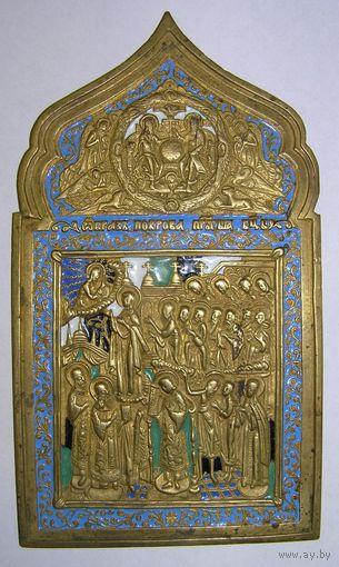 Медно-литая икона в эмалях Покрова Богородицы XIX В35