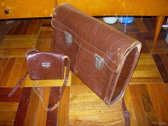 Кожаный комплект: ранец и сумочка для завтрака ГДР