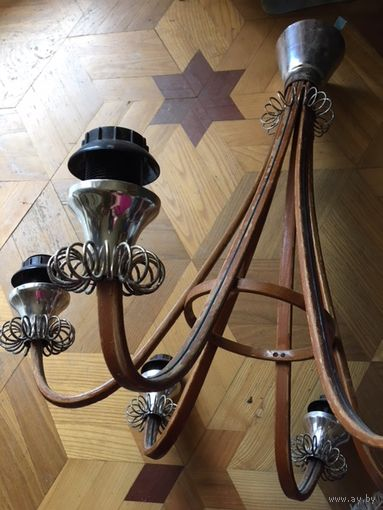 Люстра СССР деревянная на 6 ламп 60-е гг