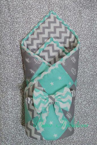"""Одеяло-конверт """"Мятное утро""""+ подарок"""