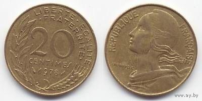 Франция 20 сантимов 1978г  распродажа