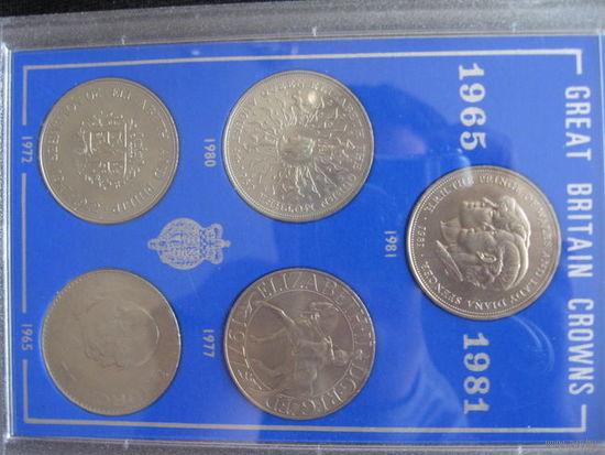 Набор из 5 монет Британские монархи 1965-1981. Возможен обмен.