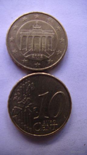 Германия 10 евро центов 2002г. G  распродажа