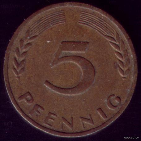 5 пфеннигов 1950 год ФРГ J