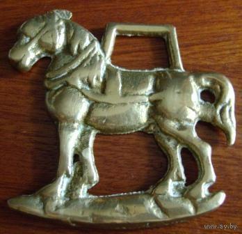 """Старинный металлический медальон """"Конь"""". Англия. Раритет"""