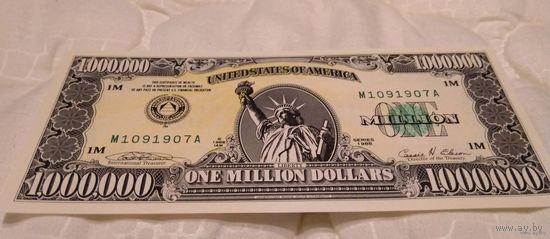 1000000 миллион долларов США 1988 UNC (сертификат, буклет)