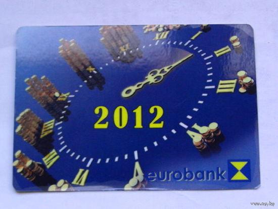 """Карманный календарик 2012г  """"Евробанк""""  распродажа"""