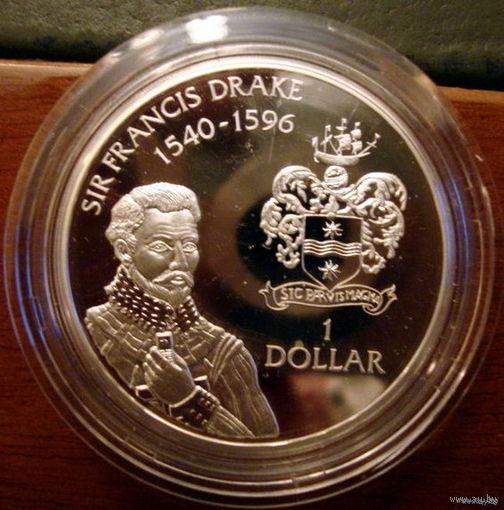 Каймановы о-ва  1 $ 1994 Дрэйк, серебро, пруф