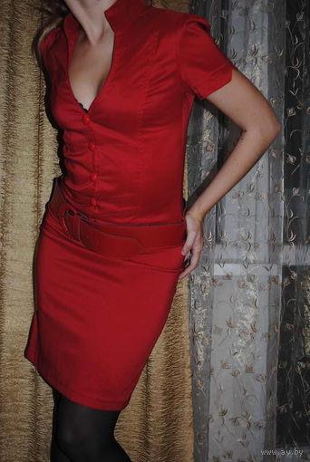 """Супер фирменное немецкое красное платье""""DEFILE""""с глубоким декольте LEDY IN READ, размер 42-44,Новое!"""